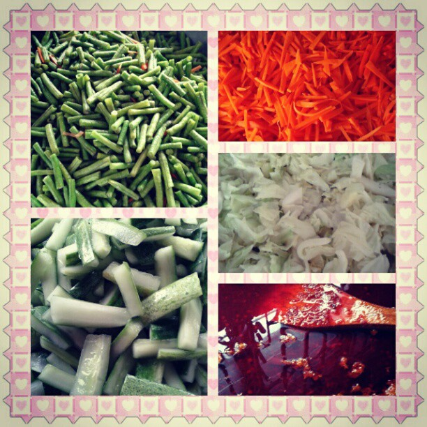 types of vege included carrot, long beans, cucumber, cabbages and of course chilies...